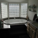 Tub in a glass block bay window