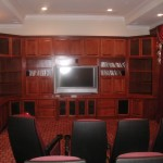 Home Theater, the big screen drops out of the slot in the ceiling