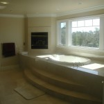 Master Bath tub side. Windows have a valley view